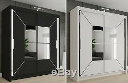 Modern Double Sliding Door Wardrobe NICOLE with LED LIGHT 2 COLOURS 4 SIZES