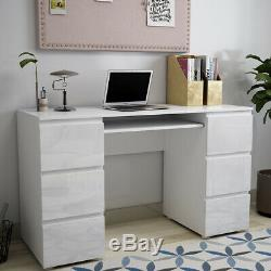 Modern Dressing Table High Gloss Fronts Makeup Desk 6 Drawers Storage Bedroom UK