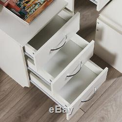 Modern Dressing Table Jewelry Makeup Desk withMirror, Shelf, Stool & 4 Drawers White