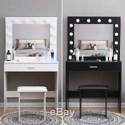 Modern Dressing Table Makeup Desk withLED Lighted Mirror&Drawer, Stool Bedroom