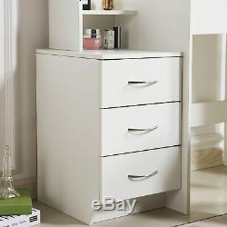 Modern Dressing Table Stool Bedroom Vanity Set Makeup Desk With Mirror & 4 Drawers