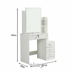 Modern Dressing Table Stool Set Makeup Desk with4 Drawer & Sliding Mirror White