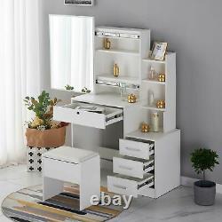 Modern Dressing Table Stool Set Vanity Makeup Desk with Mirror & Drawers Bedroom