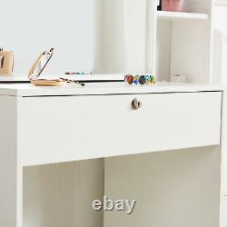 Modern Dressing Table with4 Drawers & Sliding Mirror Stool Makeup Desk Vanity Set