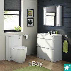 Modern Floor Standing Vanity Storage Unit with Ceramic Basin 800mm Gloss White