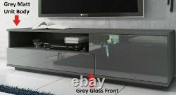 Modern GREY GLOSS FRONT TV Cabinet Stand Media Entertainment Unit 138cm Muza