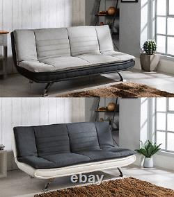 Modern Grey Sofa Bed Brand Fabric 3 Seater Padded Sofabed With Chrome Legs