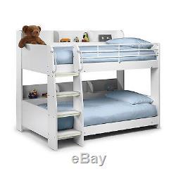 Modern Kids White Wooden Julian Bowen Domino Bunk Bed + Storage Shelves