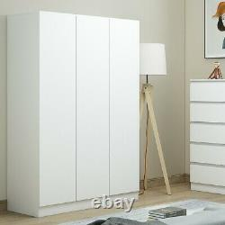 Modern Matt White 3 door triple wardrobe with shelves & rail. Slow-close hinges