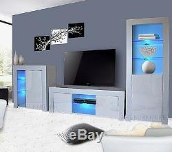 Modern Matt White Gloss Living Room Furniture TV Unit Display Cabinet Led Lights