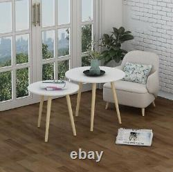 Modern Nest of Tables White Side End Tea PC Tables Set of 2 Coffee Table Round