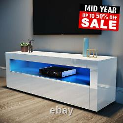 Modern TV Unit Cabinet White Stand High Gloss Doors 120cm with LED Lights