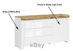 Modern White Gloss Oak finish Sideboard Cabinet Drawers Unit Soft Close Holten