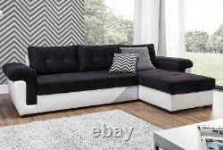 NEW Corner Sofa Bed with Storage, Black Fabric + White Leather. Contemporary