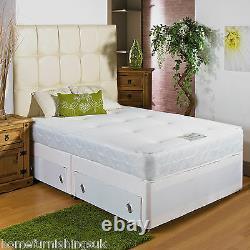NEW MEMORY FOAM DIVAN BED SPRUNG MEMORY FOAM MATTRESS 2ft63ft3ft64ft4ft65ft6ft