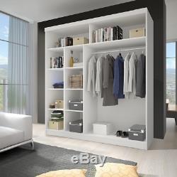 NEW MODERN DOUBLE MIRROR SLIDING DOOR WARDROBE 204cm LED BLACK/WHITE/SONOMA