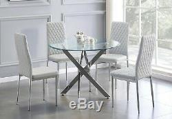 NOVARA Chrome Round Glass Dining Table and 4 Milan Faux Leather Dining Chairs