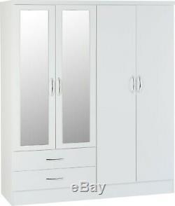 Nevada White Gloss 4 Door 2 Drawer Mirrored Wardrobe