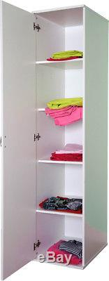 New Large Single Door Wardrobe Shelves Or Hanging Nursery Children White R94w
