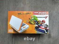 Nintendo 2DS XL Console + Mario Kart 7 Game Bundle Orange/White Brand New