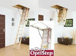 OPTISTEP WOOD TIMBER FOLDING LOFT LADDER & HATCH 60CM X 111CM(280CM)Attic Stairs