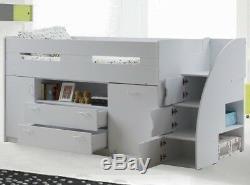 Oak Or White Supreme Midsleeper Beds Cabin Bed With Desk & Storage Reversible