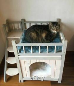 Outdoor Cat Dog Den House Pet Shelter Kennel Indoor Outside Wooden 3 Deck Fort