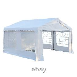 Outsunny 4m Gazebo Garden Marquee Canopy Party Carport Shelter Garage Tent White