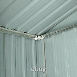Outsunny 6x4ft Corrugated Metal Garden Storage Shed withSliding Door Roof Grey
