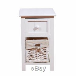 Pair of Wooden Bedside Tables Shabby Chic White Drawers & Wicker Basket Cabinet