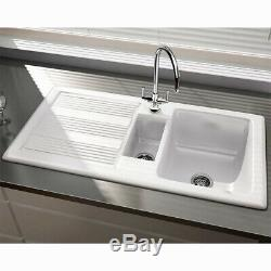 RAK Ceramics New Gourmet Sink 1v2 1.5 Bowl White Ceramic Kitchen Sink & Waste