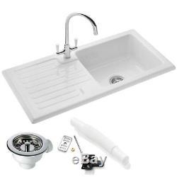 RAK Ceramics Rustic 1.0 Bowl White Ceramic Reversible Kitchen Sink & Waste