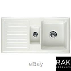 RAK Ceramics Rustic 1.5 Bowl White Ceramic Reversible Kitchen Sink