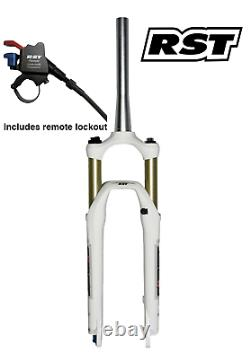RST First 30 26 MTB Tapered Air Fork 100mm Travel Remote Lockout White