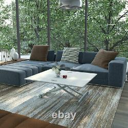 Rectangle Dining Coffee Table Movable Foot Extended Adjustable Kitchen Furniture