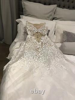 Riki Dalal Gown Dress White Illusion Neckline Brand New Wedding Stunning