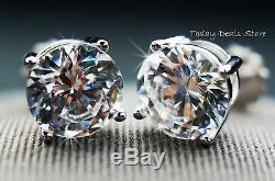 Round Cut screw-back basket stud earrings solid real 14K WHITE GOLD 4CTW Carats