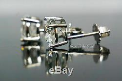 Round Earrings Studs Solid 14K White Gold Brilliant Cut Screw Back 4 CT Pair