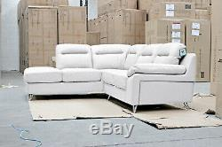 SILO 5 Seater Pocket Sprung LHF White Leather Corner Sofa BRAND NEW BOXED