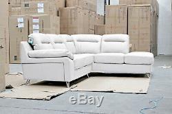 SILO 5 Seater Pocket Sprung RHF White Leather Corner Sofa BRAND NEW BOXED