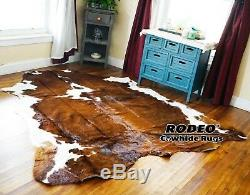 SUPERIOR HAIR ON SKIN cowhide RUG BRINDLE size approx 6X7- 7x7 feet