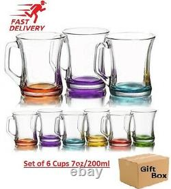 Set of 6 Coloured Glass Tea Coffee Cappuccino Cups Hot & cold Drink Mugs Gift