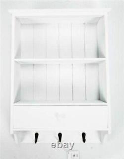 Shabby Chic Wooden Vintage Shelf Unit With Drawer 3 Key Hooks Wall Storage White