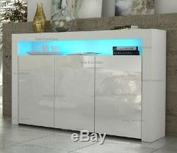 Sideboard 3 doors cabinet Cupboard Matt Body and High Gloss Doors+ LED Light