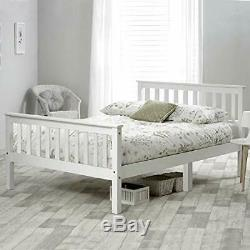 Single Bed Double Bed White Solid Wooden Frame 3ft 4ft6 For Adult Teenagers