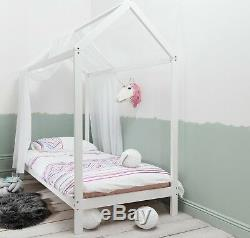 Single Bed Kids Scandinavian House Frame in White