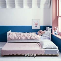 Single Bed in White Pull out Trundle Bed Frame Daybed