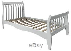 Single Bed in White with Sleigh design, Astrid Bed Frame