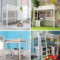 Single Wood Loft Style Bunk Bed Solid Pine Kids Cabin Bed with Ladder High Sleeper