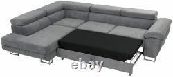 Sofa Anton- L Shape Corner Sofa Bed +Storage Leather/Fabric Black, White/Grey